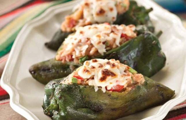 STUFFED POBLANOS WITH GROUND TURKEY
